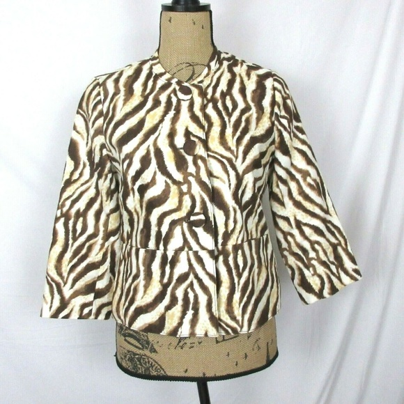 Rafaella Jackets & Blazers - Rafaella Linen Jacket Brown/White Animal Print EUC